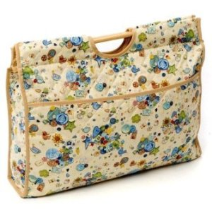 Beige with Button Print Craft Bag