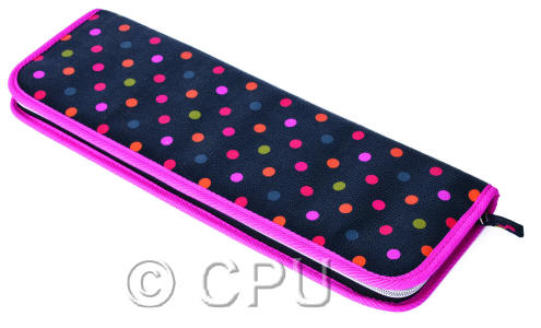 Pink Edging with Colourful Dots Knitting Pin Case