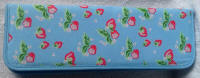 Blue with Strawberry Design Knitting Pin Case