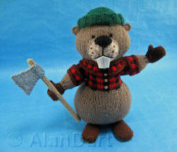 Lumberjack Beaver knitted toy