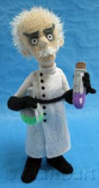 Mad Scientist knitted toys