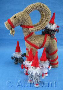 Swedish Yuletide Goat (Julbock) and Yarn Gnomes (Garntomtar) knitted toys