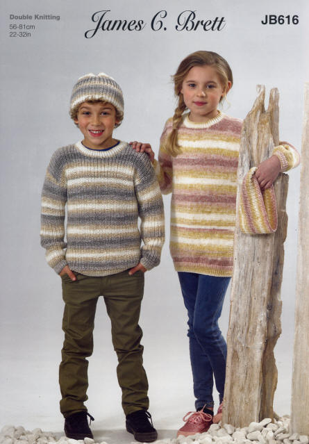 Childrens Round Neck Sweater, Round Neck Tunic, Hat and Cowl